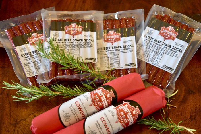 the Rancher Gift set featuring 2 each: Teriyaki Snack Sticks, Pepperoni Snack Sticks and Two chubs of Cowboy Salumi