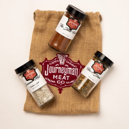 three house spices with decorative logo gift bag